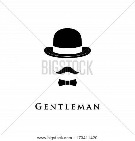 Vintage silhouette of bowler mustaches and the bow tie. Vector illustration of gentleman. Logo template of gentleman Club.