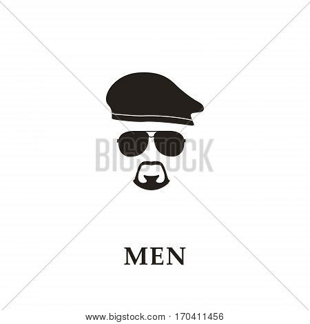 Silhouette soldier with beret sunglasses and goatee. Vector illustration.