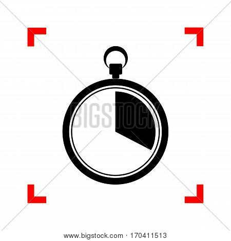 The 20 seconds, minutes stopwatch sign. Black icon in focus corners on white background. Isolated.