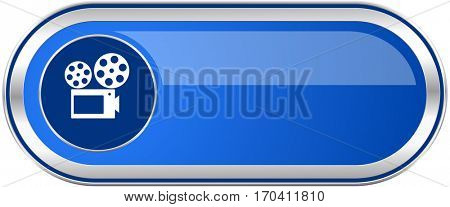 Movie long blue web and mobile apps banner isolated on white background.