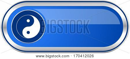 Ying yang long blue web and mobile apps banner isolated on white background.
