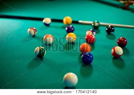 billiard game in evening. episode of pool game play