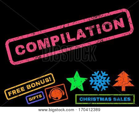 Compilation text rubber seal stamp watermark with additional bonus new year symbols. Tag inside rectangular shape with grunge design and dirty texture.