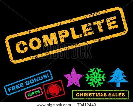 Complete text rubber seal stamp watermark with bonus christmas symbols. Tag inside rectangular shape with grunge design and dust texture.