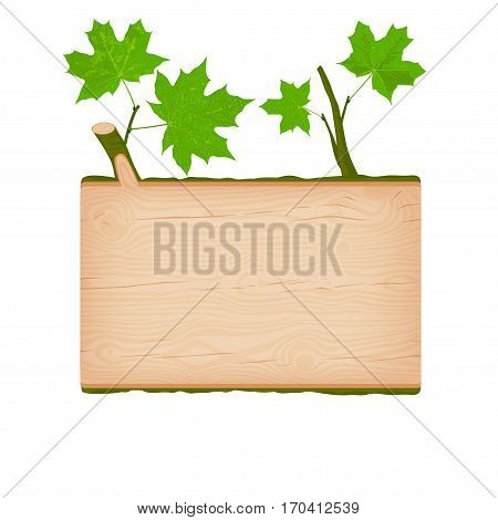 Natural textured maple wooden rectangular signboard with green leaves vector illustration
