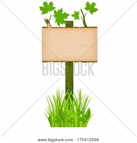 Maple wooden rectangular signboard with green leaves on a pole at the grass lawn vector illustration