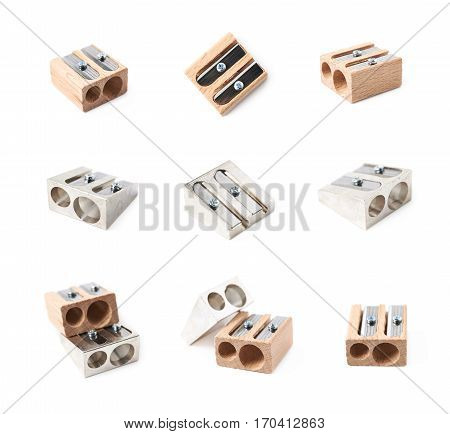 Pencil sharpener isolated over the white background, set of nine different foreshortenings