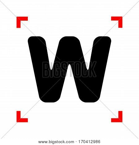 Letter W sign design template element. Black icon in focus corners on white background. Isolated.