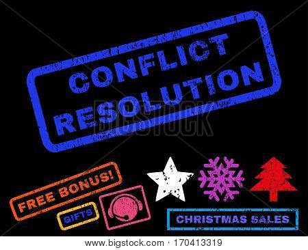 Conflict Resolution text rubber seal stamp watermark with bonus christmas symbols. Tag inside rectangular shape with grunge design and unclean texture.