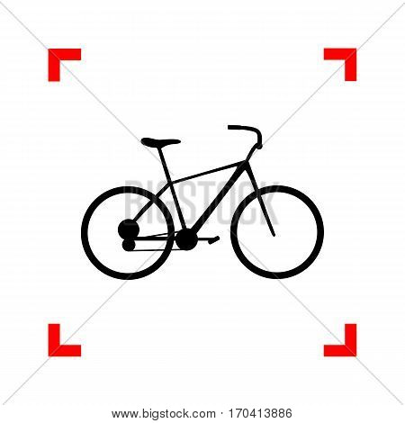 Bicycle, Bike sign. Black icon in focus corners on white background. Isolated.