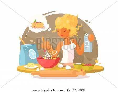 Cute young blonde woman prepares a meal in kitchen. Vector illustration