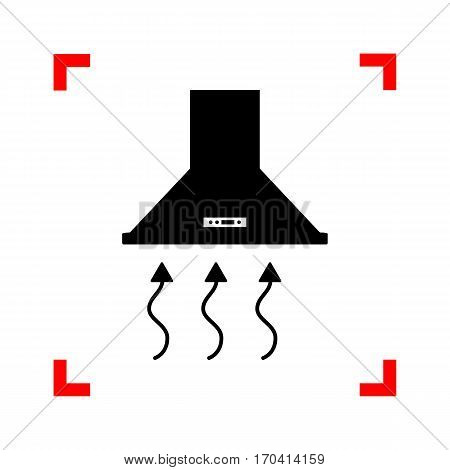 Exhaust hood. Range hood. Kitchen ventilation sign. Black icon in focus corners on white background. Isolated.