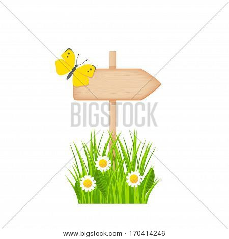 Wooden arrow signboard with knots and cracks on a pole at the grass lawn with flowers and butterfly vector illustration