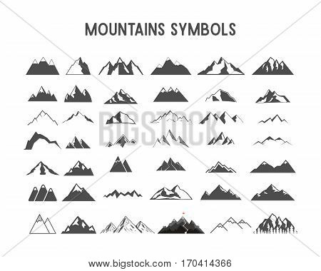 Mountain vector shapes and elements for creation your own outdoor labels, wilderness retro patches, adventure vintage badges, hiking stamps. Check others sets with camp gears, sunbursts etc. Vector.