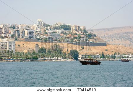 Tiberias a town on the slopes of the mountain near the Lake Kinneret