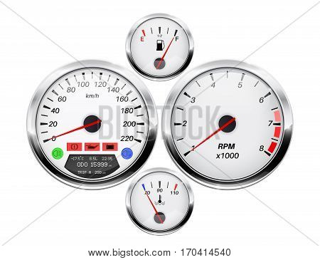 Car dashboard. Speedometer, tachometer, fuel and temperature gauge. Vector illustration isolated on white background