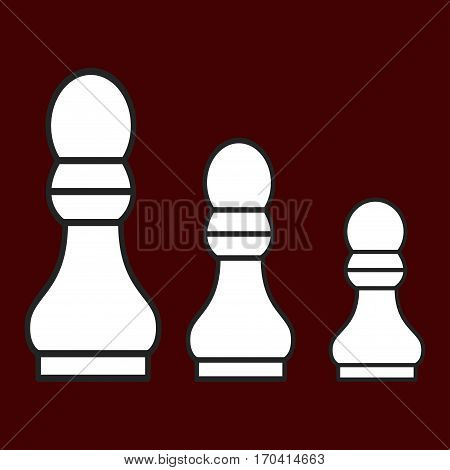 Chess figure a pawn on a brown background. Vector illustration