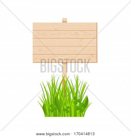 Wooden planks signboard with knots and cracks on a pole at the grass lawn vector illustration