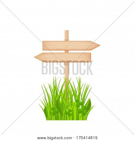 Wooden two opposite arrows signboard with knots and cracks on a pole at the grass lawn vector illustration