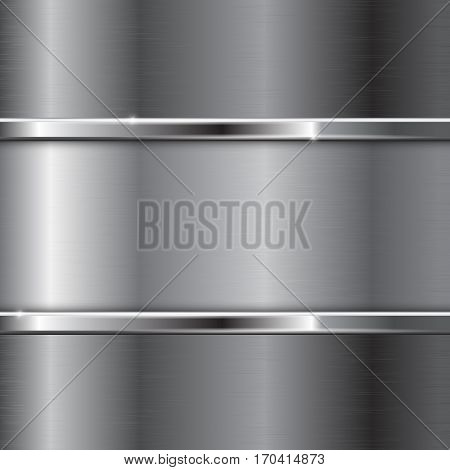 Metal background. Brushed surface and shiny stainless steel. Vector illustration