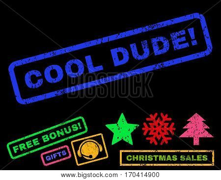 Cool Dude exclamation text rubber seal stamp watermark with additional bonus new year symbols. Caption inside rectangular shape with grunge design and scratched texture.