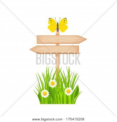 Wooden two arrows signboard with knots and cracks on a pole at the grass lawn with flowers and butterfly vector illustration