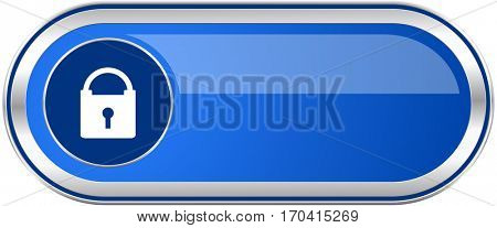 Padlock long blue web and mobile apps banner isolated on white background.