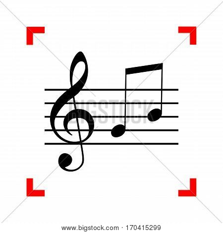 Music violin clef sign. G-clef and notes G, H. Black icon in focus corners on white background. Isolated.