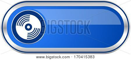 Vinyl music long blue web and mobile apps banner isolated on white background.