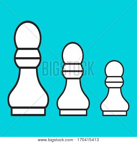 Chess figure a pawn on a blue background. Vector illustration
