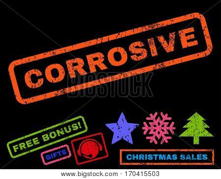 Corrosive text rubber seal stamp watermark with additional bonus christmas symbols. Tag inside rectangular shape with grunge design and scratched texture.