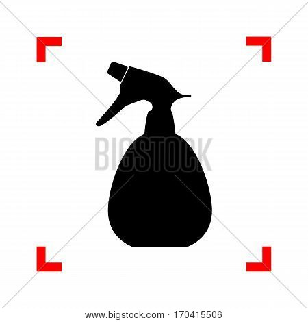 Spray bottle for cleaning sign. Black icon in focus corners on white background. Isolated.