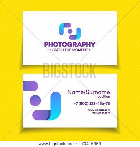 Business card with photography logo on white background used for corporate identity photo studio, photo school, wedding photography. Vector Illustration