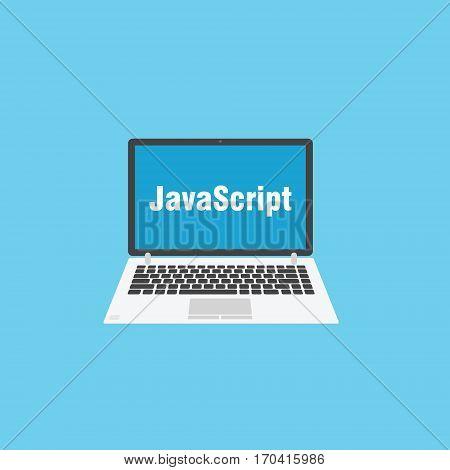 Javascript programming language. Laptop flat design on blue background