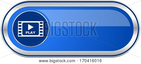 Play video long blue web and mobile apps banner isolated on white background.