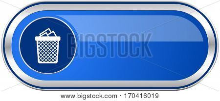 Trash can long blue web and mobile apps banner isolated on white background.