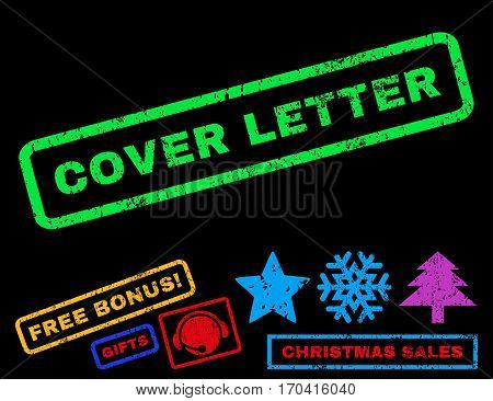 Cover Letter text rubber seal stamp watermark with bonus new year symbols. Caption inside rectangular banner with grunge design and dust texture.