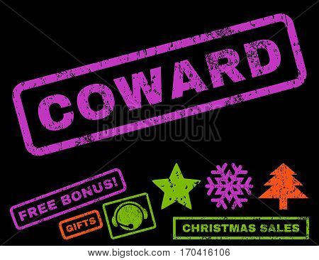Coward text rubber seal stamp watermark with additional bonus new year symbols. Caption inside rectangular shape with grunge design and unclean texture.