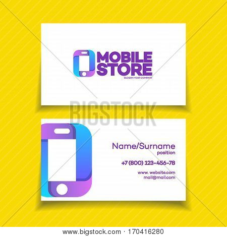 Mobile store business card design template with phone logo on yellow background can used for mobile store, phone service and repair. Perfect for your business design. Vector Illustration