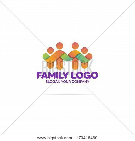 Family logo consisting of in simple figures dad, mom and two children used for family medicine practice, people logo, team, group, friendship. Vector Illustration