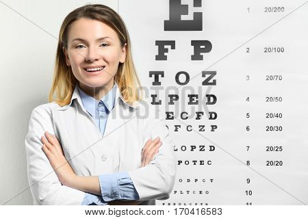 Young female doctor near eyesight test chart in clinic