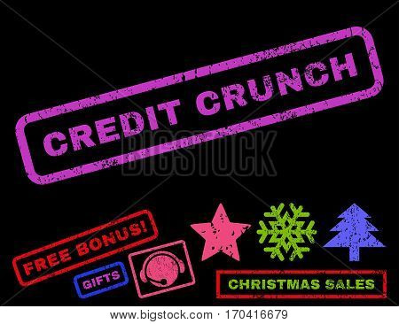Credit Crunch text rubber seal stamp watermark with additional bonus new year symbols. Tag inside rectangular banner with grunge design and dirty texture.