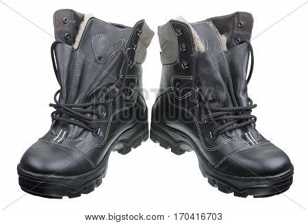 Black high men's winter boots isolated on white background.