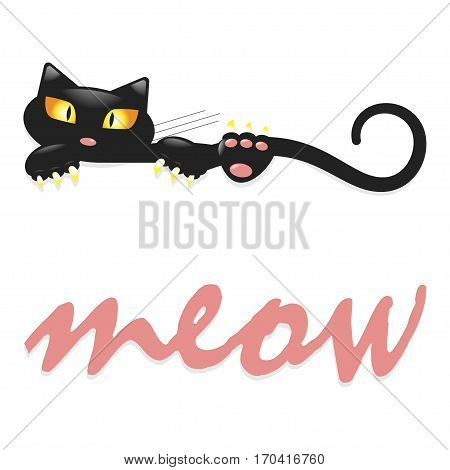 Cute little black kitty says meow, cartoon character for apparel or other uses in vector. T-shirt and pyjamas print or Book illustrations for children