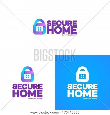 Secure home logo set on background used for corporate identity smart home control, care, storage house and security. Vector Illustration