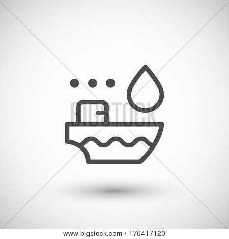 Tanker ship line icon isolated on grey. Vector illustration