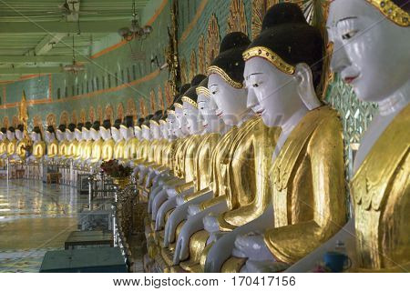 Rrow Buddhas, Umin Thounzeh caves, Sagaing, Myanmar