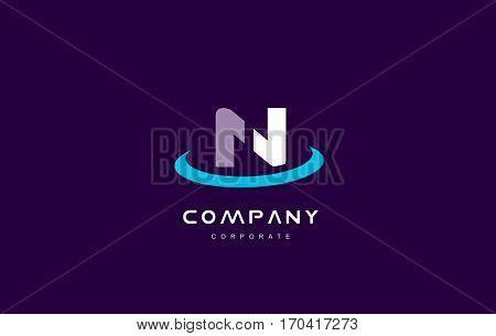 n cyan magenta blue letter alphabet vector company logo icon sign design template