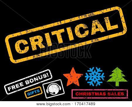 Critical text rubber seal stamp watermark with additional bonus christmas symbols. Tag inside rectangular shape with grunge design and unclean texture.