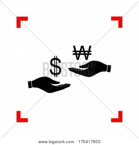 Currency exchange from hand to hand. Dollar and South Korea Won. Black icon in focus corners on white background. Isolated.